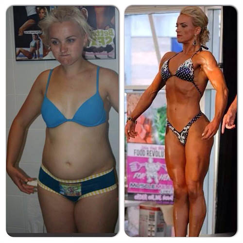 rebecca gosling before and after in a bodybuilding competition